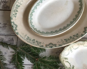 Vintage Johnson Brothers Hotel Ware Green Transferware Platter Serving Dish - Franklin Pattern
