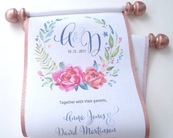 Watercolor wedding invitations with metallic rose gold finials, cotton fabric scrolls, set of 10
