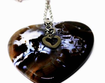 """Brown Fire Dragon Agate Heart Pendant Necklace, 24"""" Stainless Chain, Stainless Steel Heart Charm, Mother's Day Gift, Women's Jewelry, Earthy"""