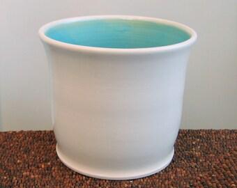 Ceramic Utensil Crock In Turquoise Blue - Stoneware Pottery Utensil Holder, Ceramic Utensil Caddy, Kitchen Organizer