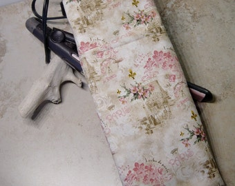 Flat Iron Travel Case, Curling Iron Case, Travel Gift, Hot Iron Sleeve, Heat Tolerant Lining, Paris Print Fabric, Gift for Her