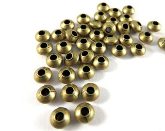 50 Antique Bronze Spacer Beads Smooth Saucer Plated Brass 5x3mm - 50 pc - 5935-8