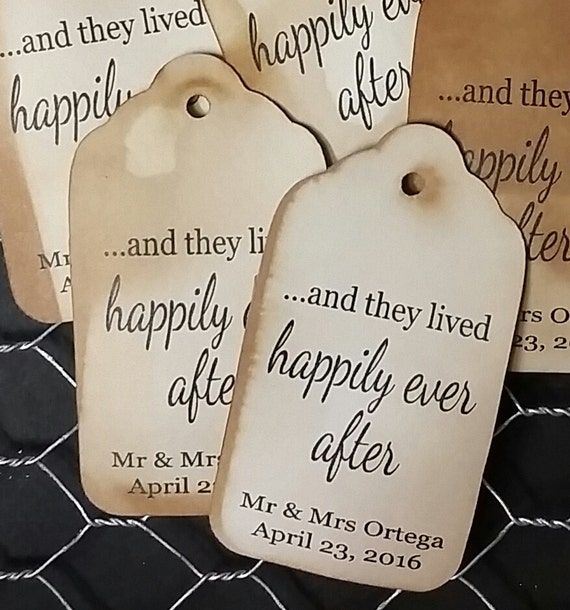 and they lived happily ever after LARGE Tags Personalize with names and date Choose your Quantity