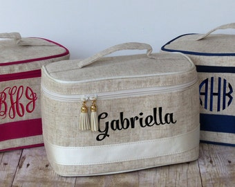 Monogrammed Linen Train Case, Personalized Cosmetic Bag, Toiletry Bag, Makeup Bag, Toiletry Kit, Bridesmaid Gift