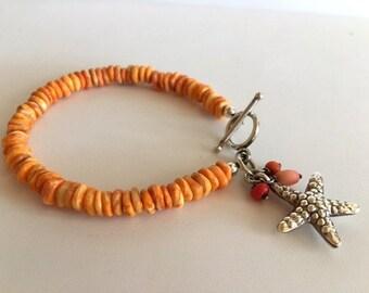 Spiny Oyster Bracelet-Orange Spiny Oyster Beaded Bracelet