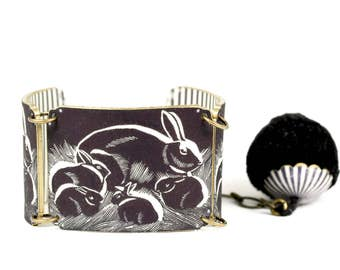 Black Bunny Linked Bracelet, Easter Bracelet, Black Rabbit Bracelet, Rabbit Bracelet, Shrink Plastic, Bunny Bracelet, Rabbit Jewelry
