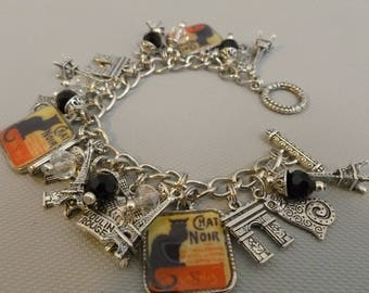 Paris Chat Noir Altered Art Charm Bracelet