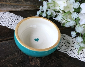 Caribbean Blue Ring Bowl with Gold  Heart and Trim -  Ring Dish Gift Ready to Ship