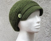 Crochet hat, newsboy cap,newsboy hat,crochet newsboy beret,brimmed hat,olive green hat,dried herb,army green,gift for her,slouchy hat