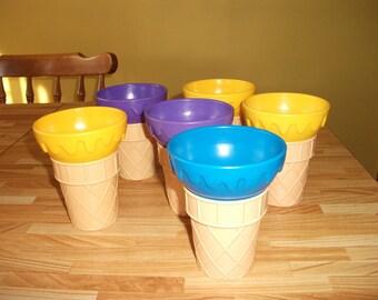 Ice Cream Cone Sundae Dishes Bowls Milkshake Cups