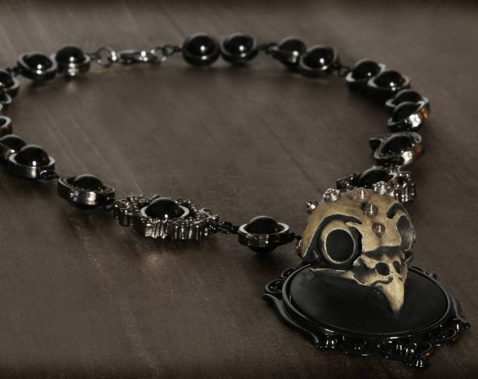 Neo Victorian Steampunk Necklace ,Maccabre Gothic Jewelry, Owl pendant with clock parts and black onyx