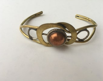 Brass and Copper Metal Cuff Bracelet