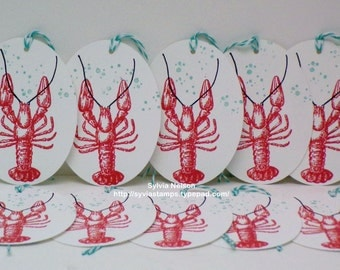 Lobster Tags...set of 10 Tags...Oval tags...Beach Wedding...Wedding gift tags...Birthday tags...Party tags Bridesmaid tags...hand stamped!