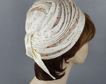 Vintage 1970s Hat Pink Ribbon Wrapped Turban Styled by Deborah Sz 22.5