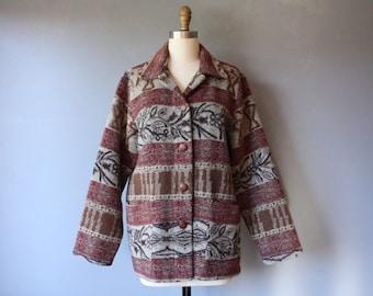 vintage wool blend jacket / burgundy grey loose fit jacket / button down jacket / large
