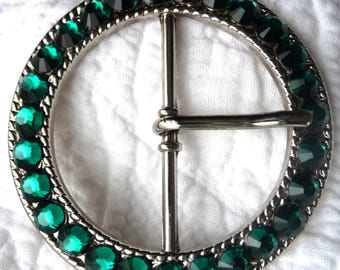 Woman's Swarovski Crystal Belt Buckle - 18 RHINESTONE COLOR CHOICES - Emerald Green shown May Birthstone - Custom Ladies Gift Idea for Her