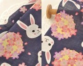 4571 - Bunny & Cherry Blossom Cotton Fabric - 55 Inch (Width) x 1/2 Yard (Length)