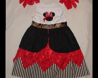 Pirate Minnie Mouse Appliqued Girls dress, Custom made to size, 12 months to girls size 8