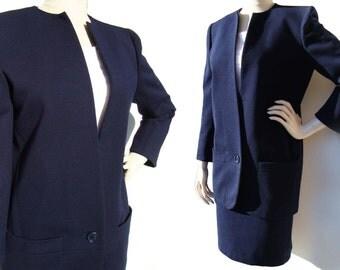 Vintage 80s Dior Couture Suit Ladies Navy Wool Jacket & Skirt 1986 - M