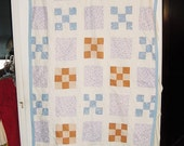 Vintage 50s Handmade Patchwork Quilt Beige Blue Blanket As Is Cutter