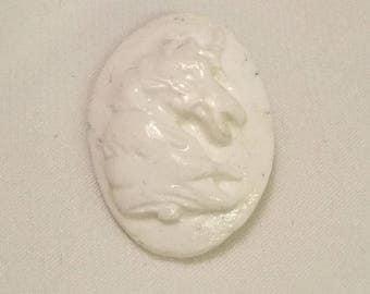 Unicorn Head - White - Hand Made Clay Button