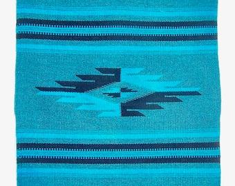 Vintage Wool Handwoven Textile Centerpiece Southwestern Turquoise