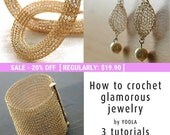 Flash Sale 20% Off- How to wire crochet glamorous jewelry tutorials crochet patterns tube necklace pearl drop earrings wide cuff bracelet