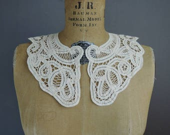 Antique Battenburg Lace Cotton Collar for Blouse or Dress, 16 inches, Edwardian 1900s Vintage Collar