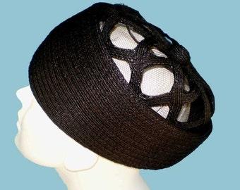 Vintage 60s Hattie Carnegie Black Straw Hat with Cutout Crown
