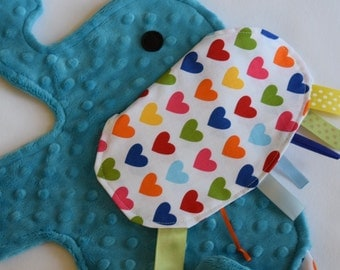 Spree Heart Turquoise Elephant Shaped Blanket Sensory Lovey - Icing On The Cupcake