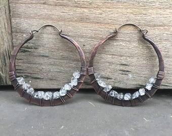 Herkimer diamond Earrings Hoop Earrings Crystal Earrings Large Hoop Earrings Rustic Jewelry Daniellerosebean Big Hoops Copper Hoop Earrings