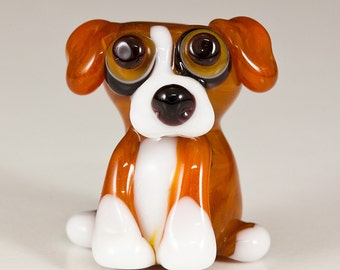 Tan Beage Mix Lampwork Dog Bead