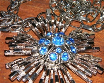 Fall Sale Vintage Blue and Silver Rhinestone Pendent, OOAK