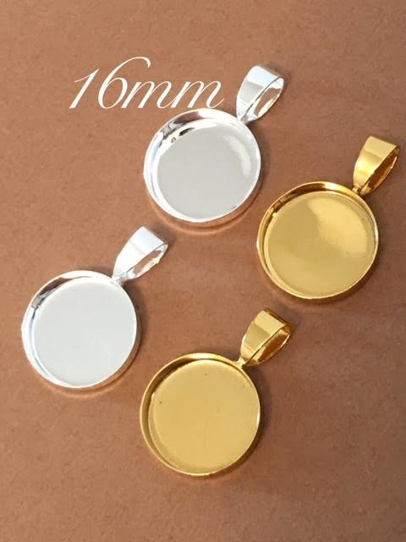 10 TINY 16mm Bezels Blank Pendant Circles Round Trays Shiny Silver Plated Gold Settings Cabs Charms Deep 3mm