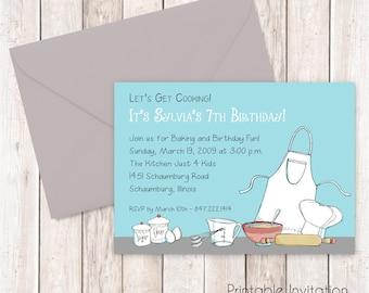 Cooking Party Invitation, Printable Invitation, Custom Wording, JPEG File