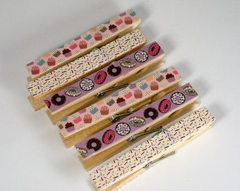 Altered Clothespin  Clips  Decorative  Wooden Clothespins in Sprinkles