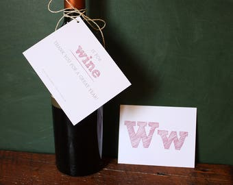 W is for WINE // End of School Year Gift Tag for Teacher