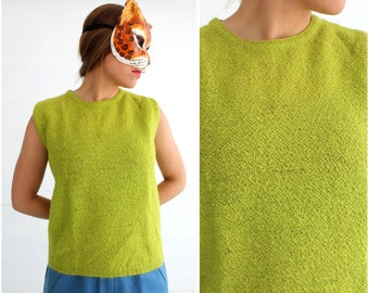 Vintage 1950s/1960s Lime Green Boucle Sweater Shell by Jane Irwill | Large