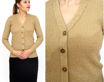 Vintage 60s/70's Shiny Metallic Gold Lurex Button-up Cardigan Sweater | Small