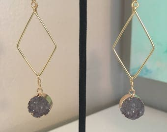 Druzy and Gold Drop Earrings