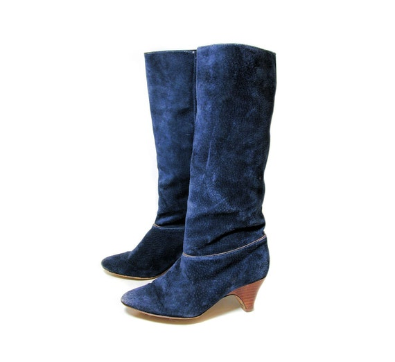 80s blue suede boots 6 knee high boots boots blue