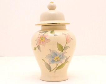 Vintage Ginger Jar, Floral Jar, Stash Jar, Made in Japan, Jar with Lid, Floral Ginger Jar, Retro Decor, Decorative Urn, Asian Decor, Urn