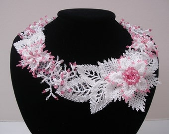 White and Pink Flowers Beadwork  Beadwoven  Seed Beads Swarovski Crystal Beaded Flower Hand Made Necklace.