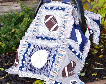 Car Seat Canopy Sports Rag Quilt Blanket Blue, Gray - Baby Boy Custom Sports  - Boy Car Seat Canopy - Football Quilt - Baseball Baby Quilt