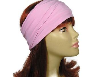 Pink Lycra Head Wrap Wide Pink Headband Mauve Head Wrap Stay in Place Head Wrap Wide Pink Headwrap Wide Pink Headband Pink Yoga Head Wrap
