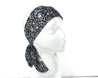 Skull Bandana Skull Hair Scarves Black and White Skull Scarves Men's Skull Bandanna Men's Head Scarves Skull Turban Goth Flag Headband