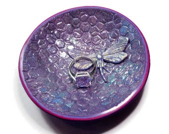 Dragonfly Ring Holder- polymer clay Bowl- Wedding Gift- Trinket Dish- Moroccan Ring Dish Gifts for Her Jewelry Storage Tray