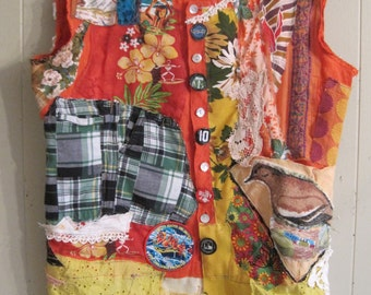 veggie soup - eclectic Wearable Folk Art Fabric Collage - Retro Kitsch Upcycled Altered Assemblage  -mybonny random scraps of textile