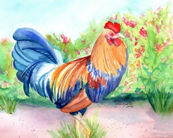 Kauai Island Rooster, Original Watercolor Paintings, Hawaiian Chickens, Kitchen Paintings, Kauai Art, Kitchen Decor, Barnyard Chickens
