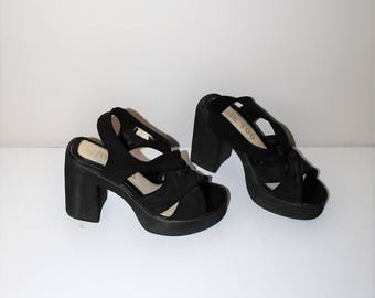 90s mega platform sandals 1990s club kid black elastic strappy foam stacked toe platforms size 7